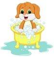 Dog cartoon bathing vector image vector image