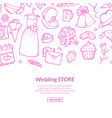 doodle wedding elements background pink vector image