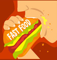 fast food dependence bad habit and addiction of vector image