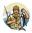 fisherman smiling while holding tuna vector image vector image