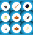 flat icon festival set of magic spinner broom vector image vector image