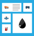 flat icon fuel set of petrol van flange and vector image vector image