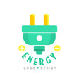 flat original logo design with electric plug eco vector image