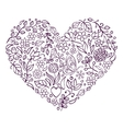 floral heart on white background vector image vector image