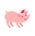 funny pink pig in santa hat vector image