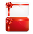 Gift Card With Red Bow vector image vector image