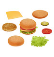 hamburgher realistic fast food ingredients vector image vector image