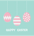 happy easter text hanging painted egg set pink vector image