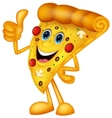 Happy pizza cartoon with thumb up vector image vector image