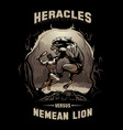 heracles and nemean lion vector image vector image