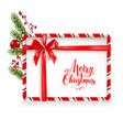 holiday stripe frame and tree vector image vector image