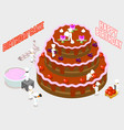 isometric people decorate a birthday cake vector image vector image