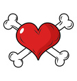 Love and bone Heart and crossbones Emblem for vector image