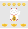 Lucky cat holding golden coin Japanese Maneki vector image vector image