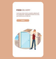male office worker hold box from pizza delivery vector image