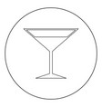 martini glass icon black color in circle or round vector image vector image