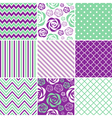 Mint And Purple Seamless Patterns vector image