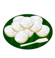 Pile of Coconut Puddings on Banana Leaf vector image vector image