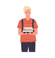 portrait happy modern student holding pile vector image vector image
