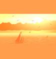 sailboat against orange sunset vector image