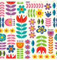 seamless pattern with retro style flowers vector image