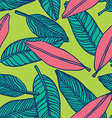 seamless tropical jungle floral pattern background vector image