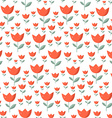 Seamless Tulip Pattern - Red Tulips Flowers with vector image