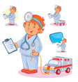 set icons small child doctor and his toy vector image