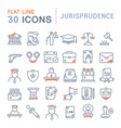 set line icons jurisprudence vector image