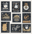 set retro stamps on theme coffee vector image