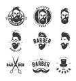 set vintage barber shop emblems label vector image vector image