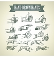 set vintage hand-painted hands vector image
