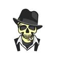 Skull in hat gangster vector image vector image