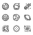 space astronomy icon set outline style vector image