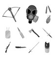 types of weapons monochrome icons in set vector image vector image