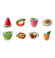 vegetarian dish icons in set collection for design vector image vector image