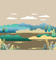 village landscape in trendy flat and linear style vector image vector image