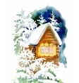 Watercolor winter landscape with snowy houses vector image