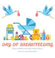 world breastfeeding week and kids elements flat vector image