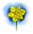 yellow flower on the blue background vector image vector image