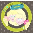 Zodiac signs collection Cute horoscope - GEMINI vector image vector image