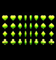 green 3d symbols poker cards animation vector image