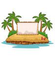 beach with blank frame vector image