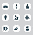 beverages icons set with elite rum spacing vector image
