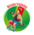 biceps training isometric background vector image vector image