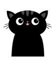 black sad cat head face with big eyes pink tongue vector image vector image