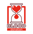 blood donation charity isolated icon hourglass and vector image vector image