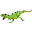 cartoon green t-rex dinosaur growling vector image vector image