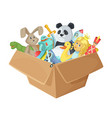 children toys in cardboard box funny vector image vector image
