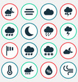 climate icons set collection of lightning cloudy vector image vector image